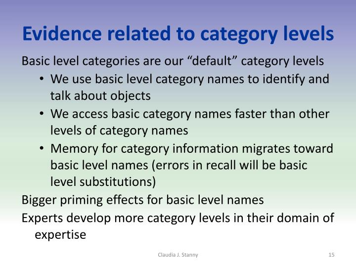 Evidence related to category levels