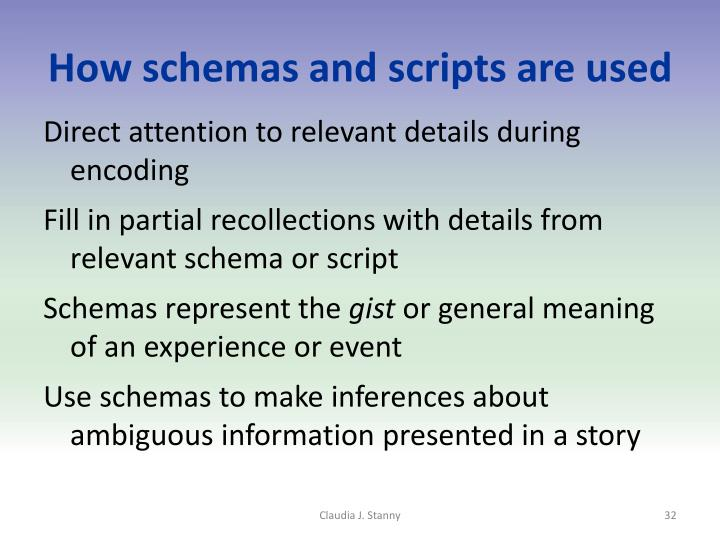 How schemas and scripts are used