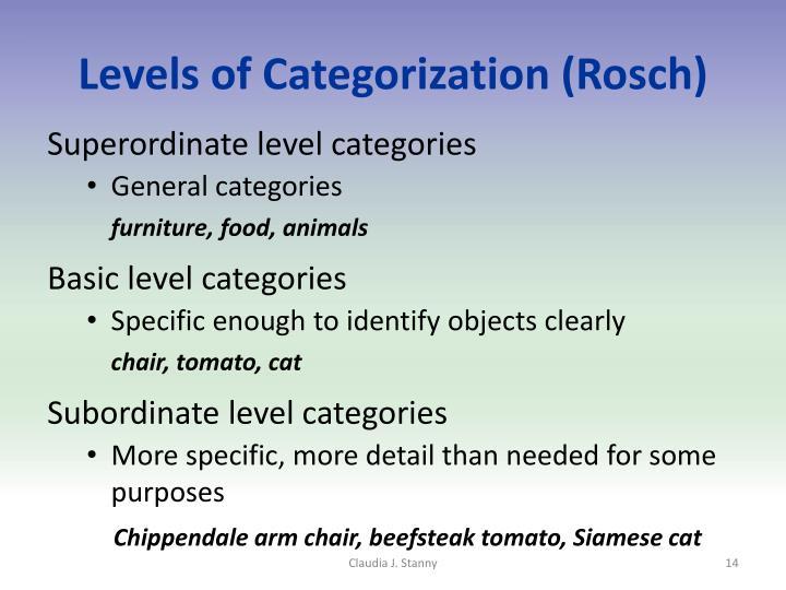Levels of Categorization (Rosch)