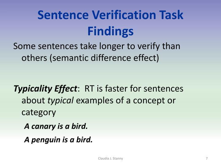 Sentence Verification Task Findings