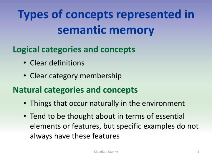 Types of concepts represented in semantic memory