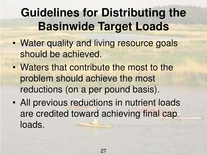 Guidelines for Distributing the Basinwide Target Loads