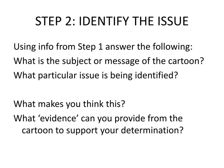 STEP 2: IDENTIFY THE ISSUE