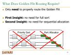 what does golden flit routing require