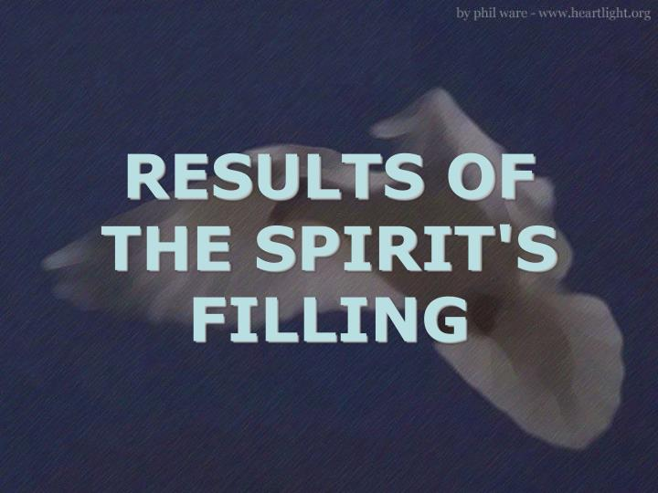 RESULTS OF THE SPIRIT'S FILLING