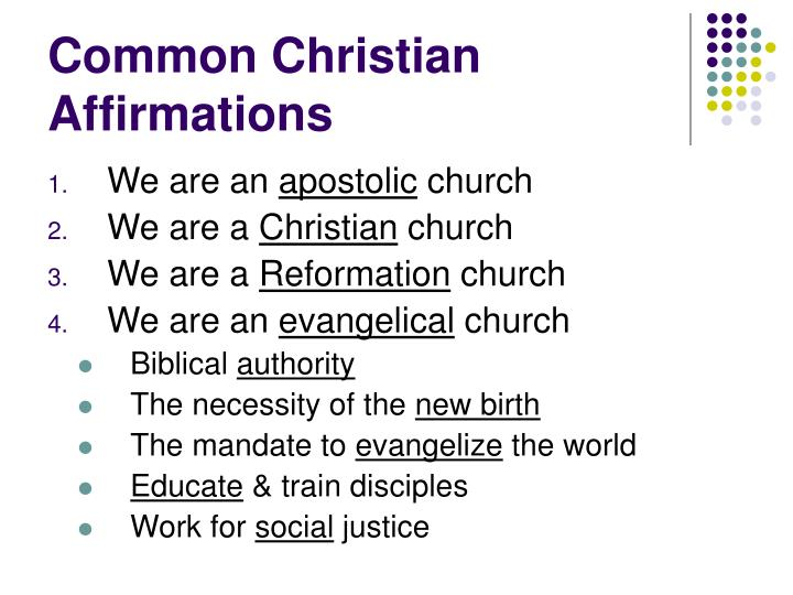 Common Christian Affirmations