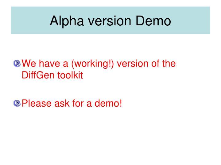 Alpha version Demo