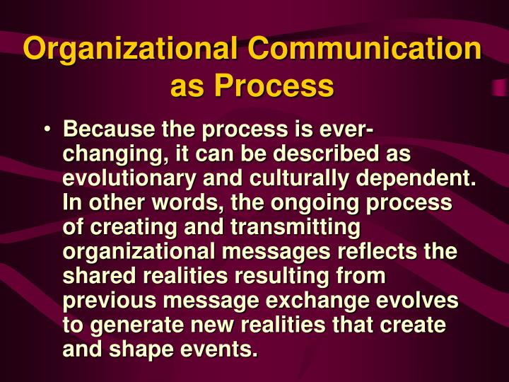 introduction to organizational communication In communication studies, organizational communication is the study of communication within organizations the flow of communication could be either formal or informal.