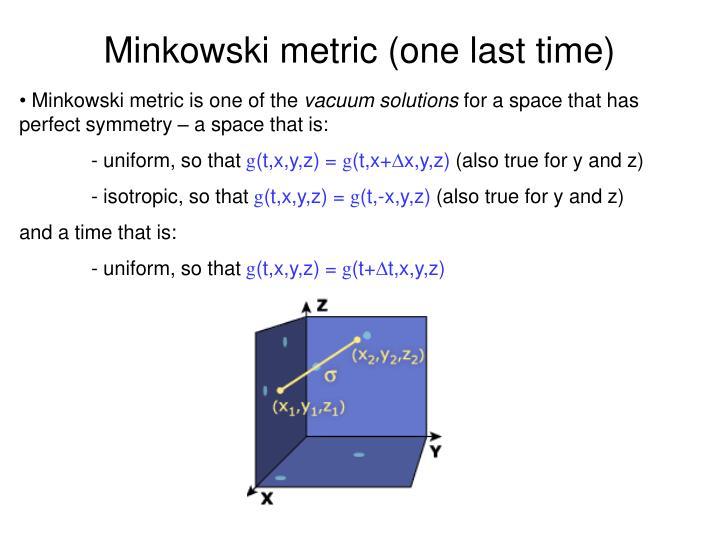 Minkowski metric (one last time)