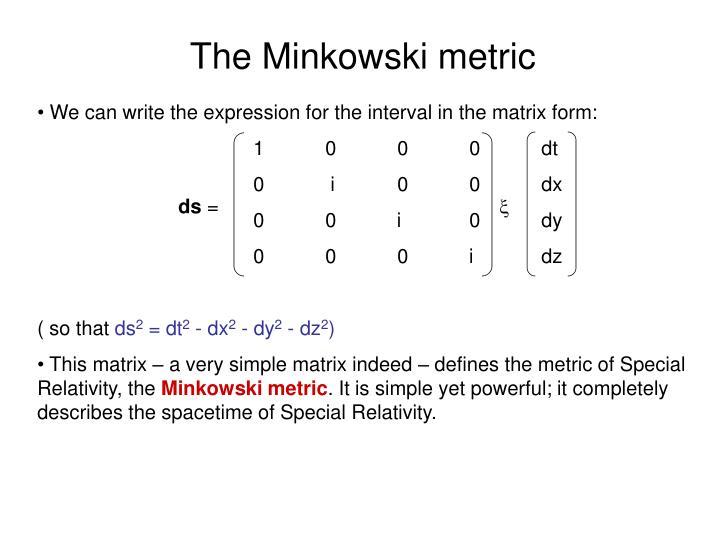 The Minkowski metric