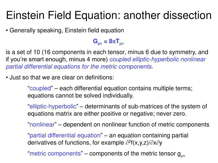 Einstein Field Equation: another dissection
