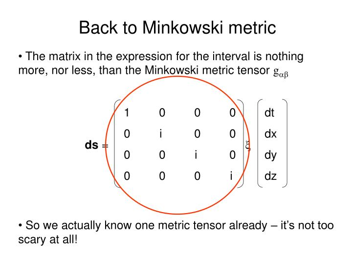 Back to Minkowski metric