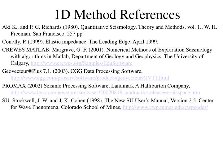 1D Method References