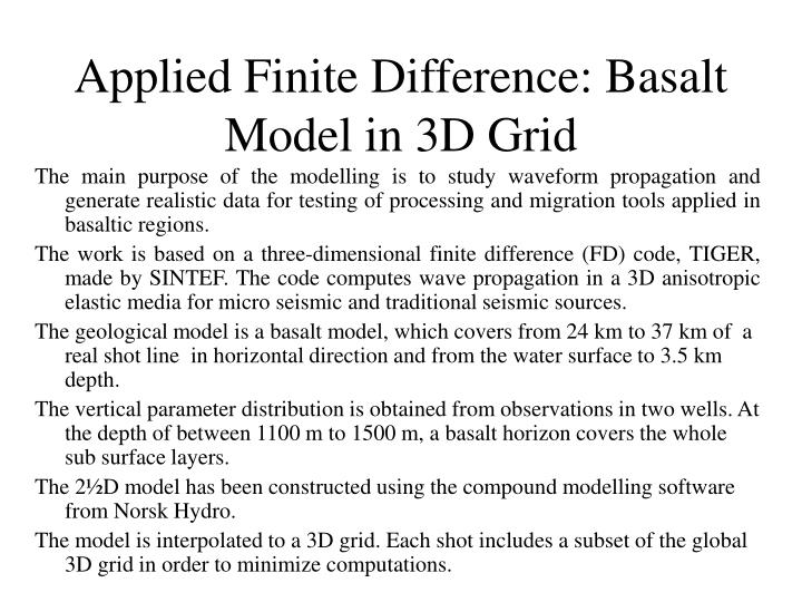 Applied Finite Difference: Basalt Model in 3D Grid