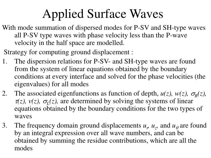 Applied Surface Waves