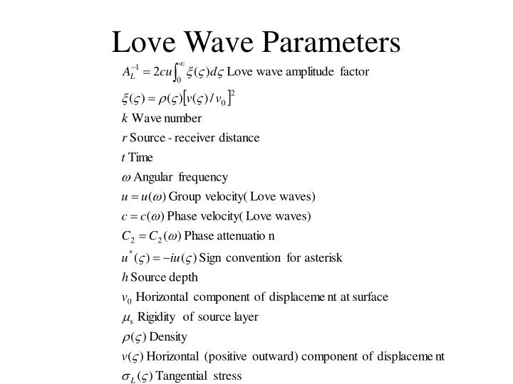 Love Wave Parameters