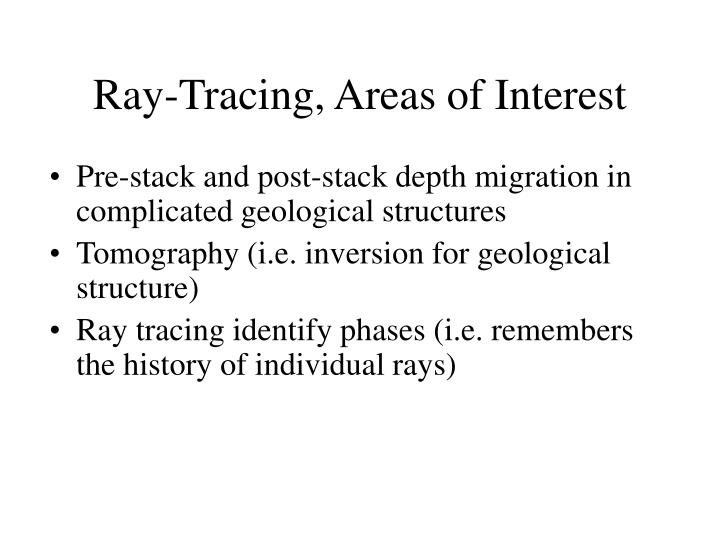 Ray-Tracing, Areas of Interest