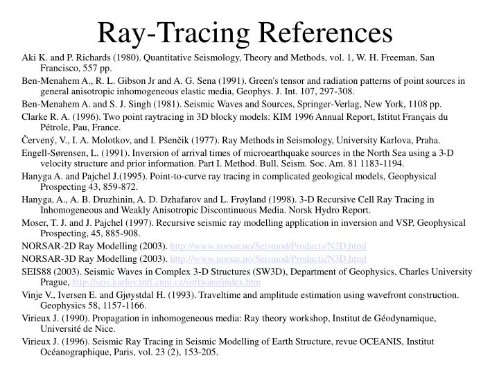 Ray-Tracing References