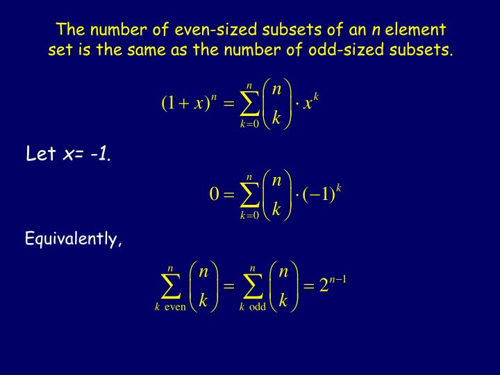 The number of even-sized subsets of an