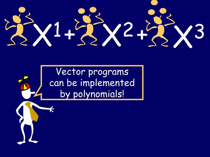 Vector programs can be implemented by polynomials!
