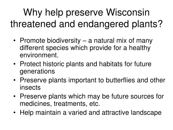 Why help preserve Wisconsin threatened and endangered plants?