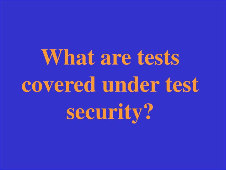 What are tests covered under test security?