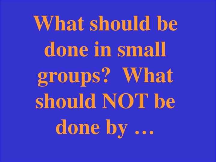 What should be done in small groups?  What should NOT be done by …