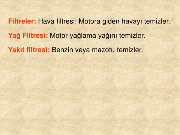 Filtreler: