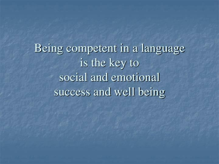 Being competent in a language