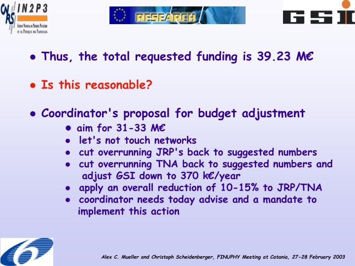 Thus, the total requested funding is 39.23 M€