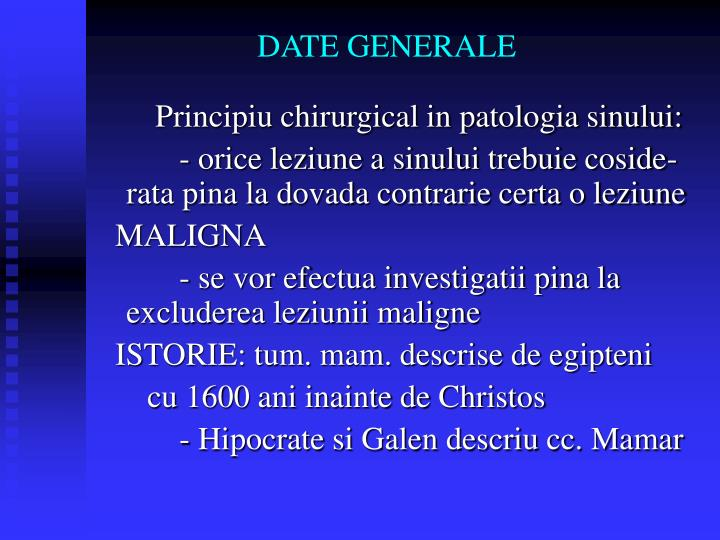 DATE GENERALE