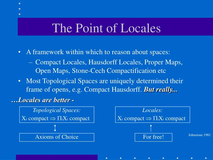 The Point of Locales