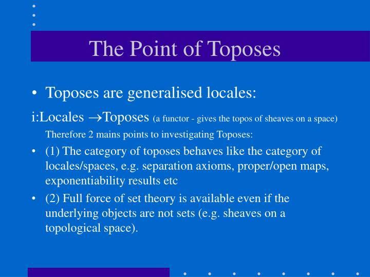 The Point of Toposes
