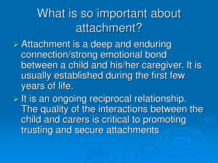 What is so important about attachment?