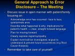 general approach to error disclosure the meeting