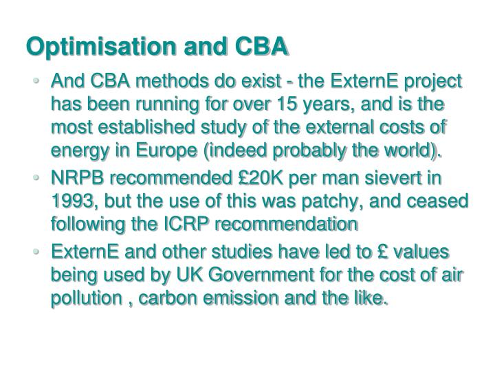 Optimisation and CBA