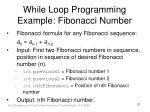 while loop programming example fibonacci number