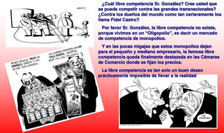 ¿Cuál libre competencia Sr. González? Cree usted que se puede competir contra las grandes transnacionales? ¿Contra los dueños del mundo como tan certeramente los llama Fidel Castro?