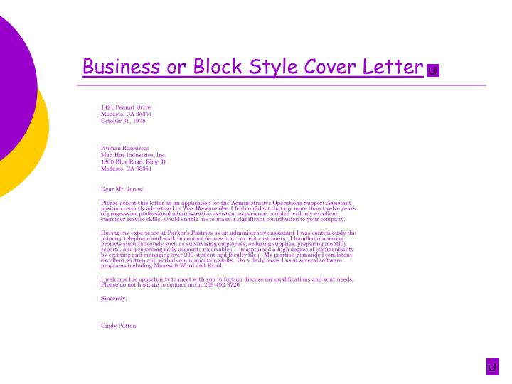 Business or Block Style Cover Letter