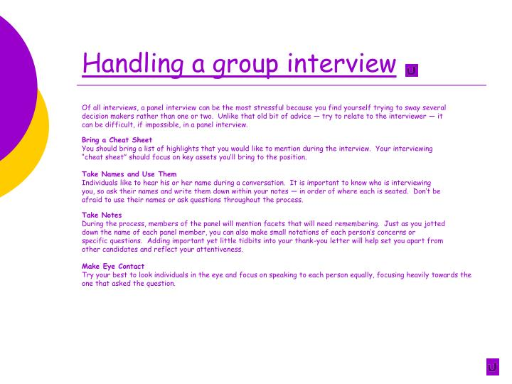 Handling a group interview