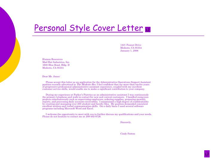 Personal Style Cover Letter