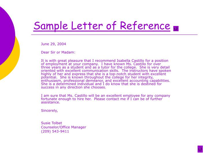 Sample Letter of Reference