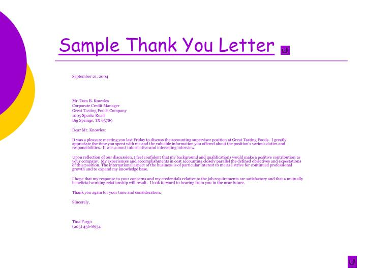Sample Thank You Letter