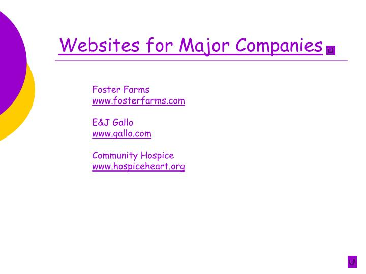 Websites for Major Companies