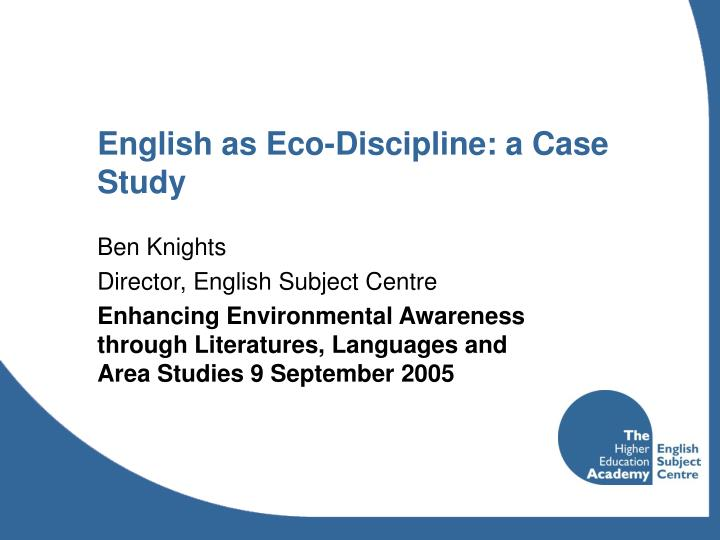 english as eco discipline a case study
