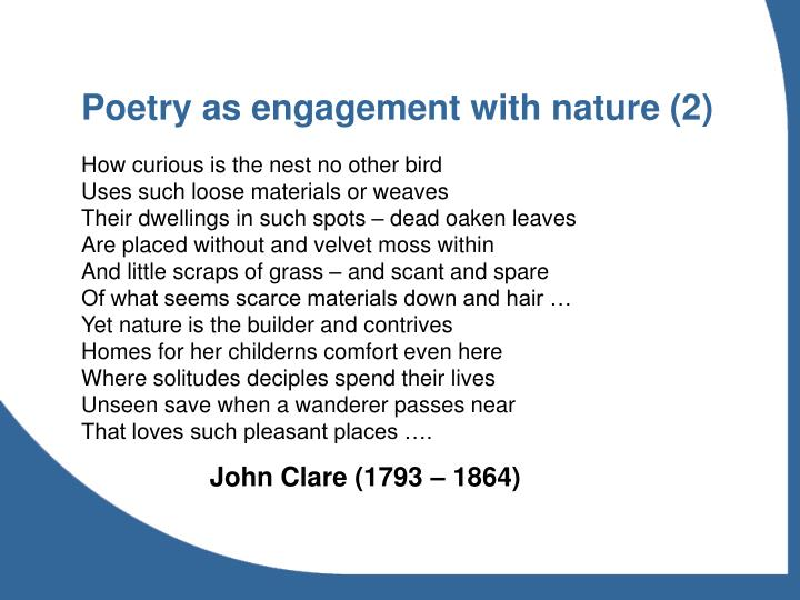 Poetry as engagement with nature (2)