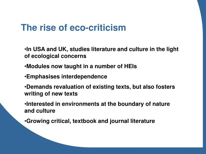 The rise of eco-criticism