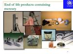 end of life products containing mercury