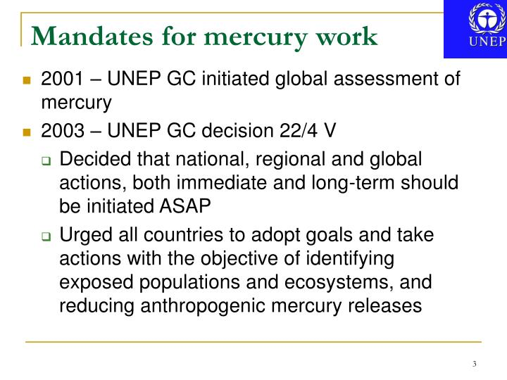 Mandates for mercury work