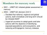 mandates for mercury work